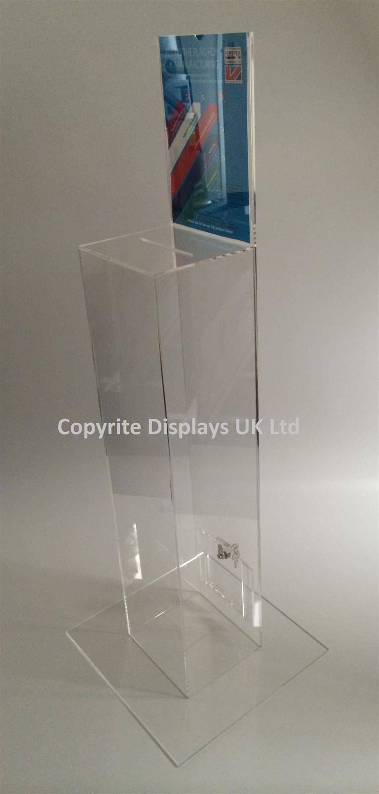 Tall Clear Acrylic Token Collector Counter / Ballot Box