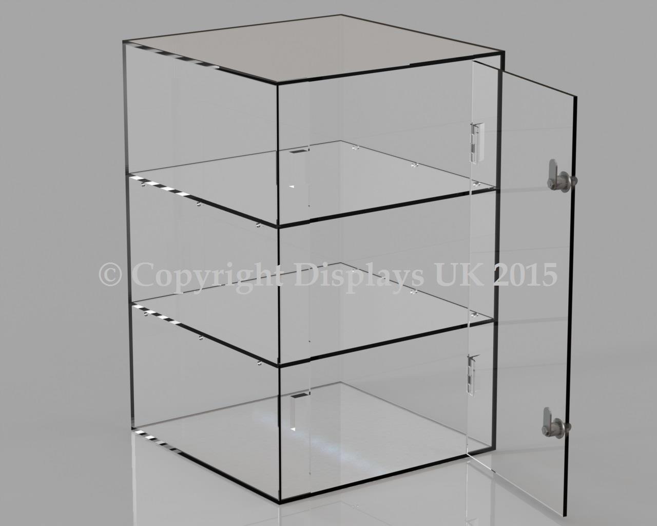 Acrylic Display Case - 2 Shelves - Lockable Door