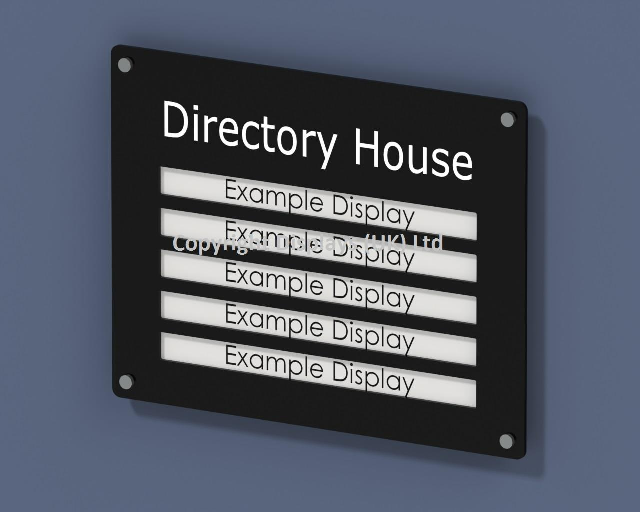 Acrylic Building / Office Directory Sign - 5 Office