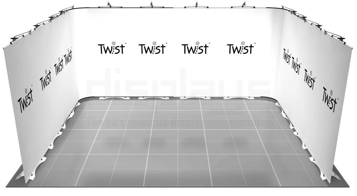 Twist 5m x 4m Exhibition Stand - U Shape - Kit 44