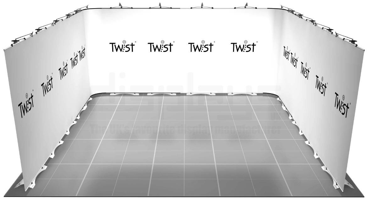 Twist 5m x 5m Exhibition Stand - U Shaped - Kit 45