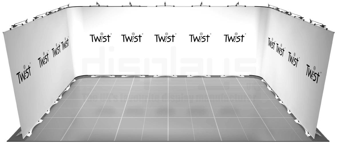 Twist 6m x 4m Exhibition Stand - U Shape - Kit 46
