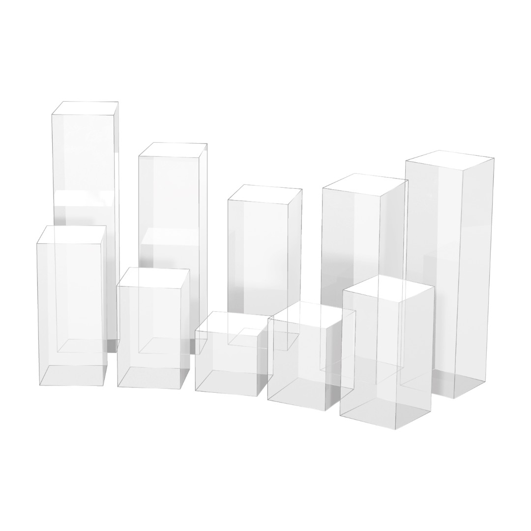 Clear Perspex Acrylic Pedestals and Plinths