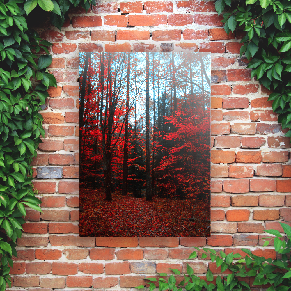 Printed Outdoor Garden Wall Art Panels - Red Forest