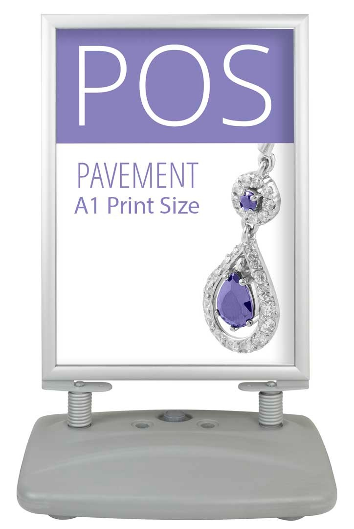Water filled base pavement sign for professional signs. Durable and stable for outdoor sign use. With wheels. Double sided, snap frame type poster holder