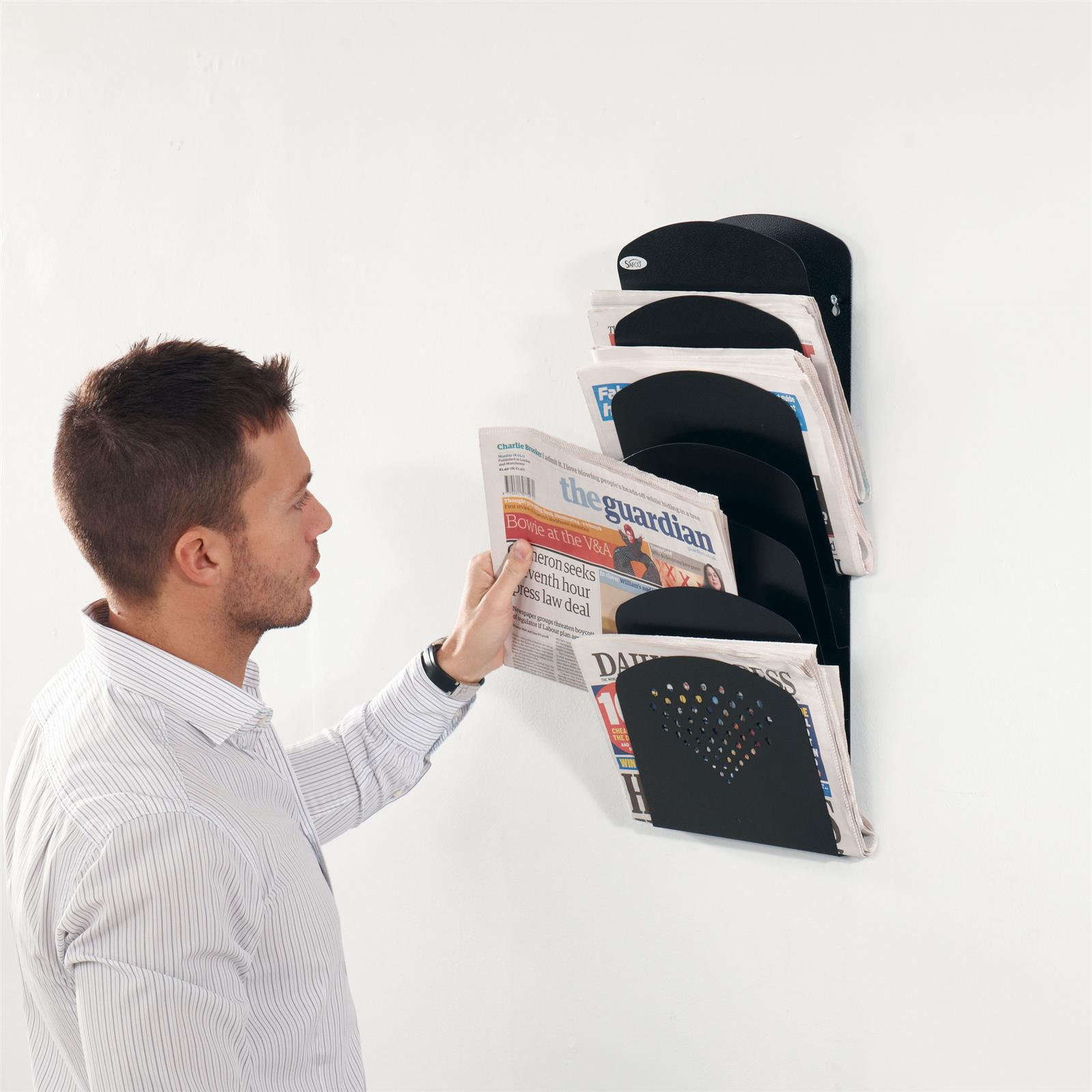 Steel 7 Pocket Wall Mounted Brochure Rack