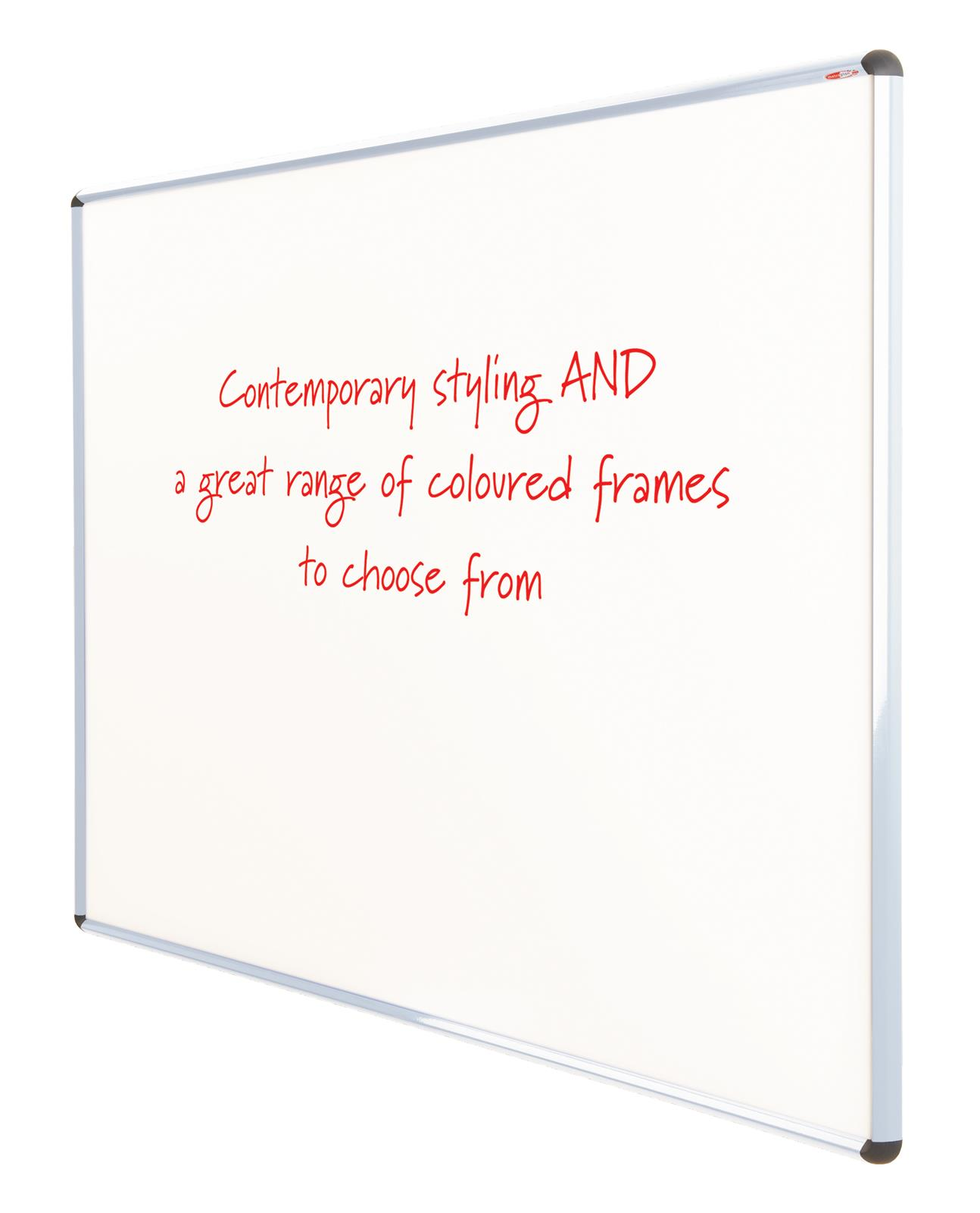 WriteOn Shield Design Whiteboard- Coloured/Aluminium Framed