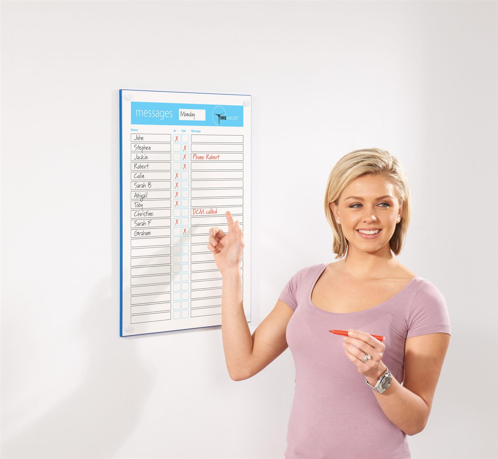 Timeminder In-Out Personal Message Whiteboards
