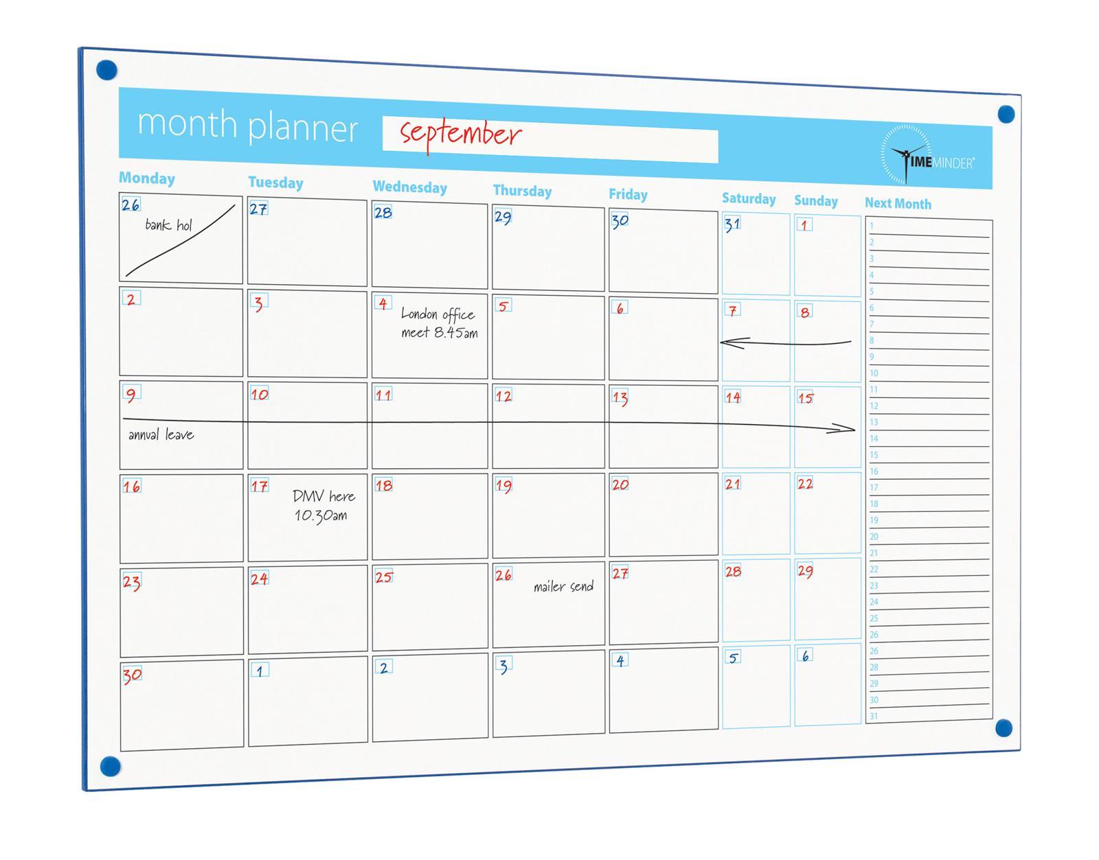 Timeminder Drywipe Perpetual Planner Whiteboards