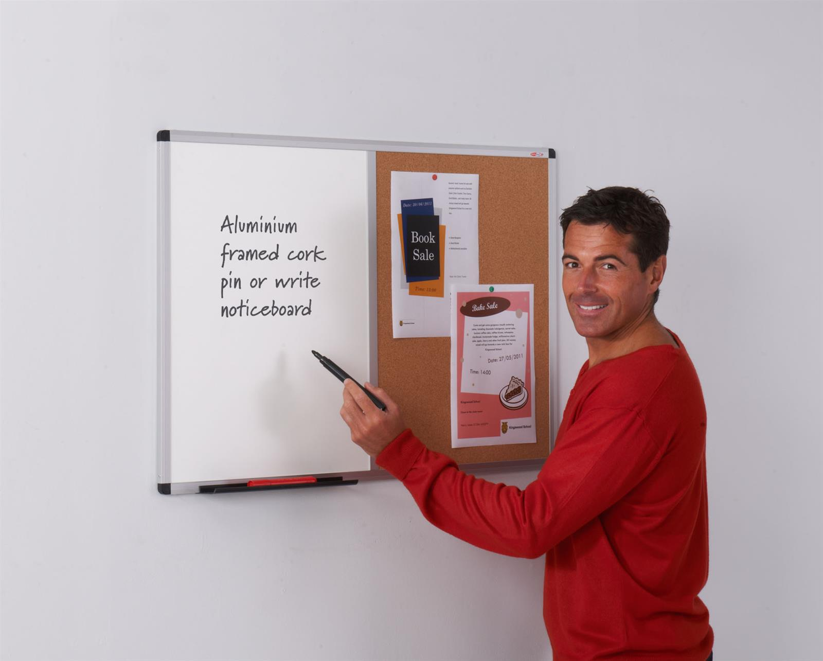 Metroplan Aluminium Framed Cork/Drywipe Dual Noticeboards