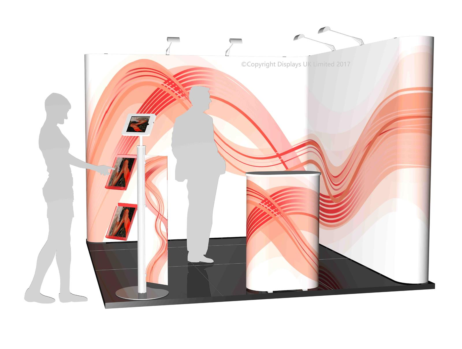 3m x 3m Linked Pop Up Exhibition Stand - Kit 14 -  P3x3-2aS