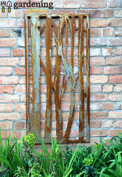 Rusty Silver Birch Garden Wall Panel