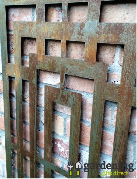 Rusty Box Maze Metal Garden Wall Panel