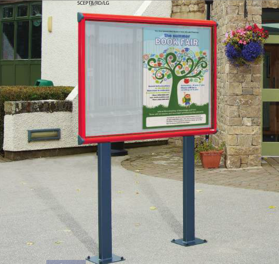 Shield Exterior Showcase Noticeboard with Surface Mounted Posts