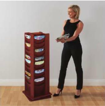Wooden Revolving Literature Dispenser