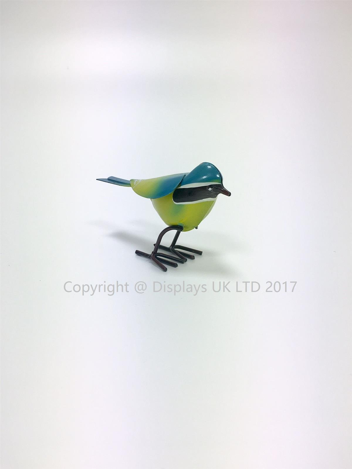 Small Metal Blue Tit Bird Garden Ornament