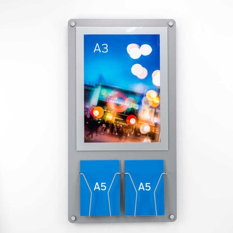 A3 Poster and Leaflet Combo Display - Wall Mounted