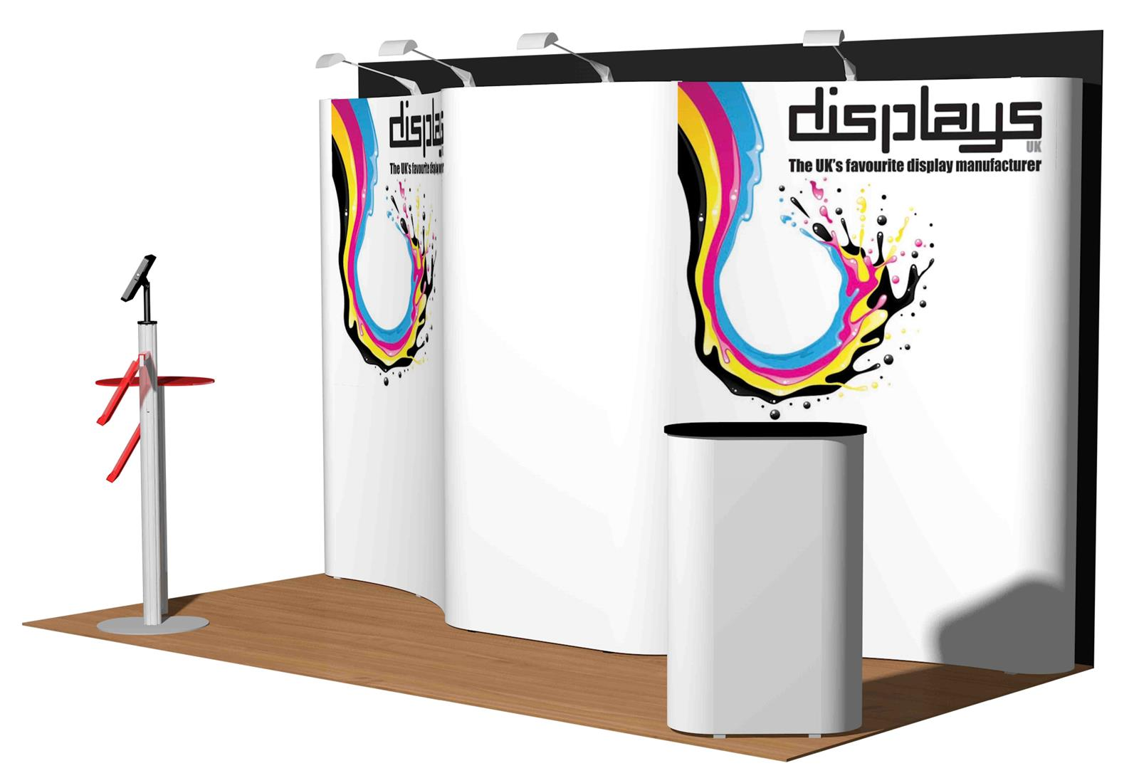 4m x 2m Linked Pop Up Exhibition Display Stand - Kit 24