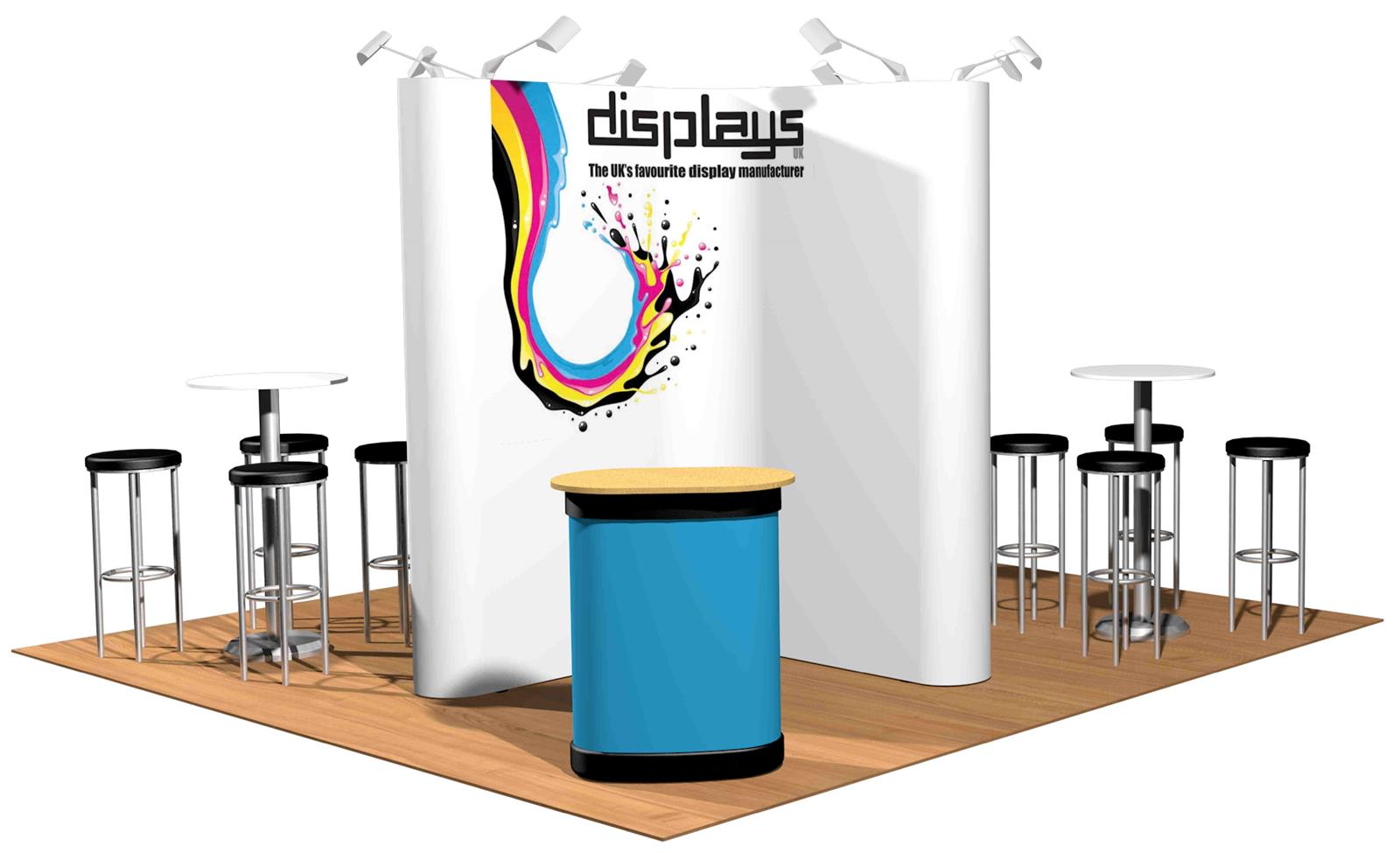 4m x 4m Linked Pop Up Exhibition Display Stand - Kit 25