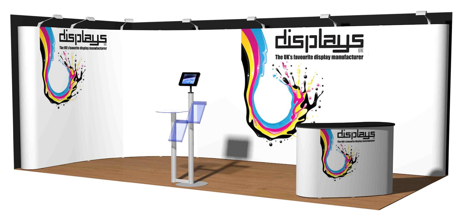 3m x 6m Linked Pop Up Exhibition Display Stand - Kit 38