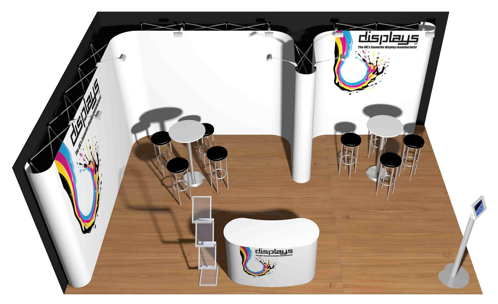 4m x 6m Linked Pop Up Exhibition Display Stand - Kit 39