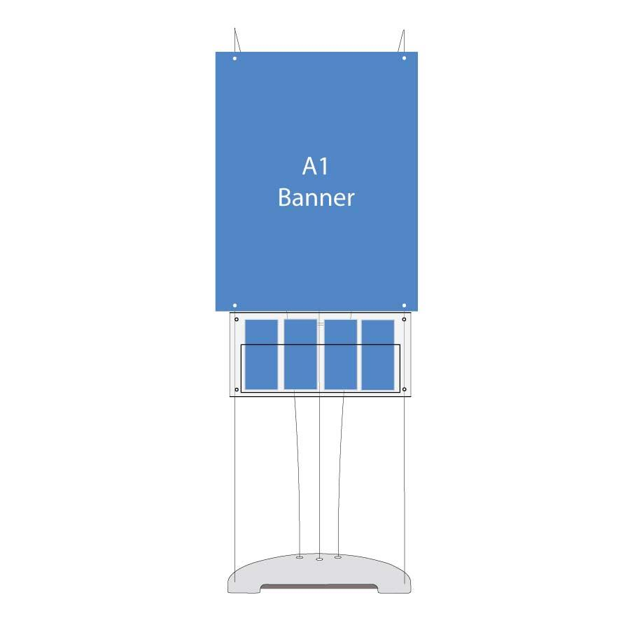 D3 A1 Poster Banner Stand with Leaflet Holders