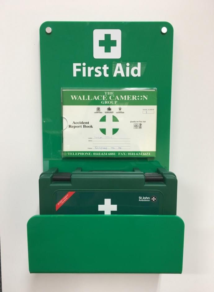 First Aid Kit and Accident Book Holder - Wall Mounted Sign