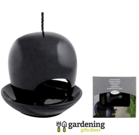 Black Ceramic Bird Feeder - Modern