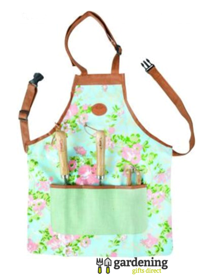 Woman's Floral Rose Print Garden Apron with Pocket