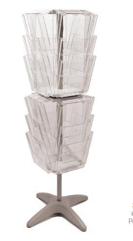 24 Pocket A4 and/or DL Floor Standing Rotating Leaflet Dispenser