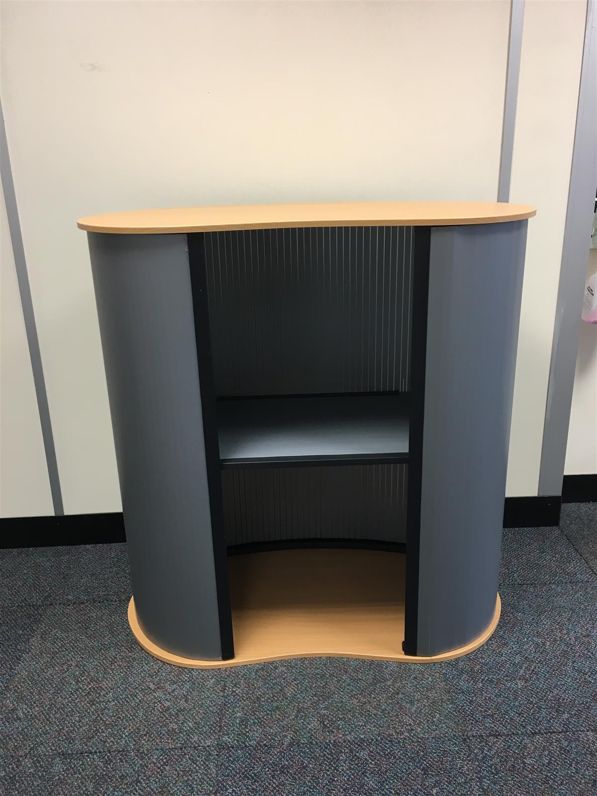 Portable Curved Basic Exhibition Counter with Internal Shelf