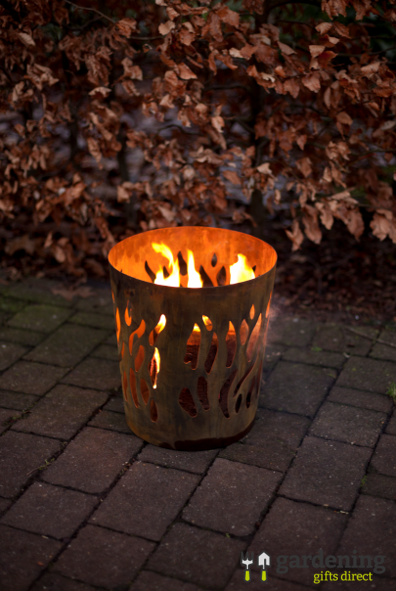 Small Round Fire Log Burner for the Garden