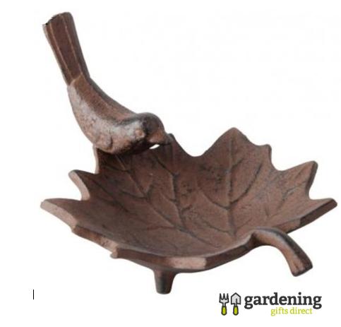 Small Cast Iron Leaf Bird Bath
