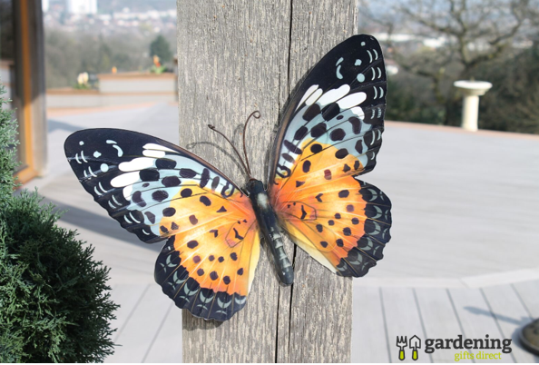 Large Metal Butterfly Wall Art in Orange & Black