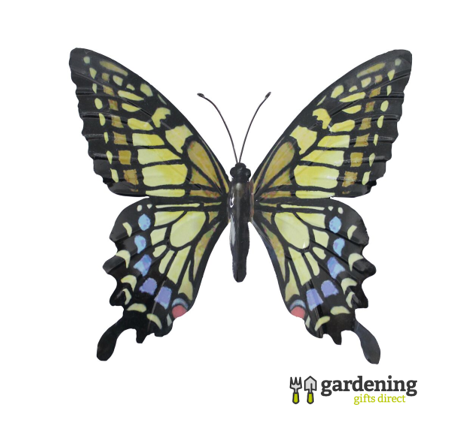 Large Metal Butterfly Garden Wall Art in Yellow, Blue & Black
