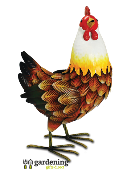 Metal Farmyard Hen Garden Ornament