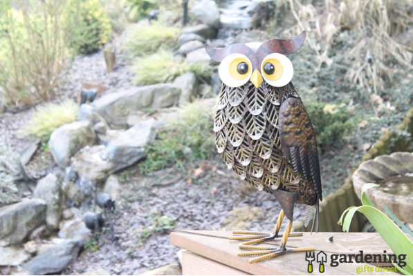 Metal Brown Woodland Owl Garden Ornament