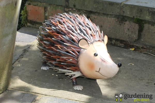 Jolly Metal Hedgehog Garden Ornament