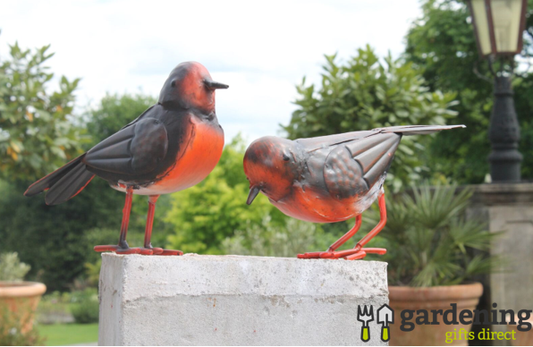 Set of 2 Small Metal Robin Birds Garden Ornaments