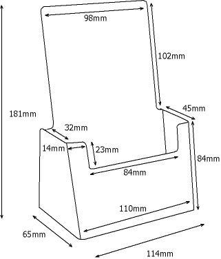 DL 1/3rd A4 Counter Top Clear Plastic Leaflet Holder