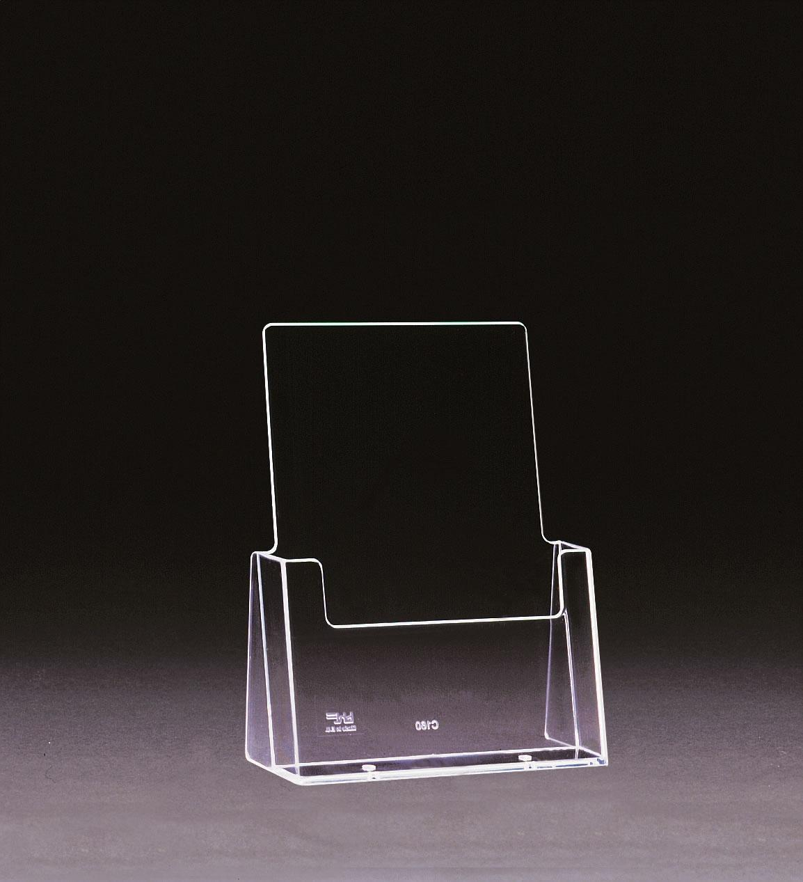 A5 Perspex Freestanding Leaflet Holder. Clear Plastic.