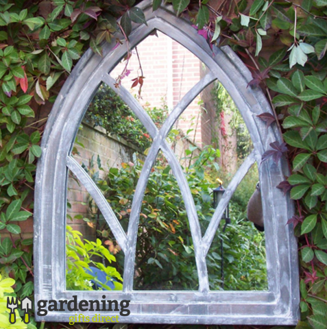 Gothic Arch Garden Mirror / Outdoor Mirror - Mid Grey