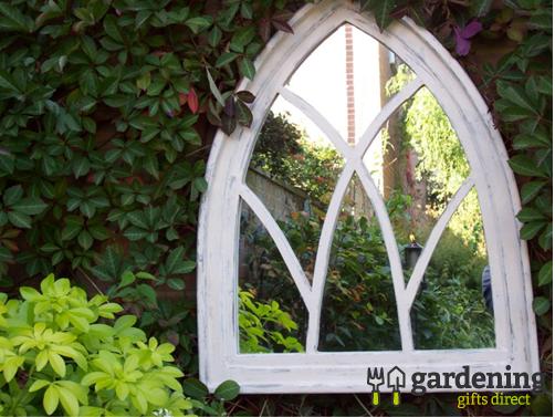 Gothic Arch Garden Mirror - Wooden Off White Shabby Chic