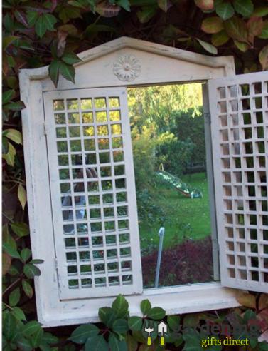 Garden Mirror Roman Open Shutter