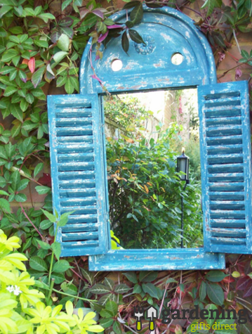 Renaissance Garden Mirror with Opening Louvre Doors - Blue