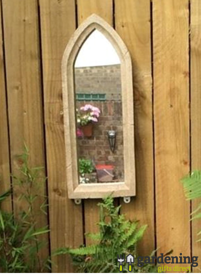 Small Gothic Resin Stone Garden Mirror