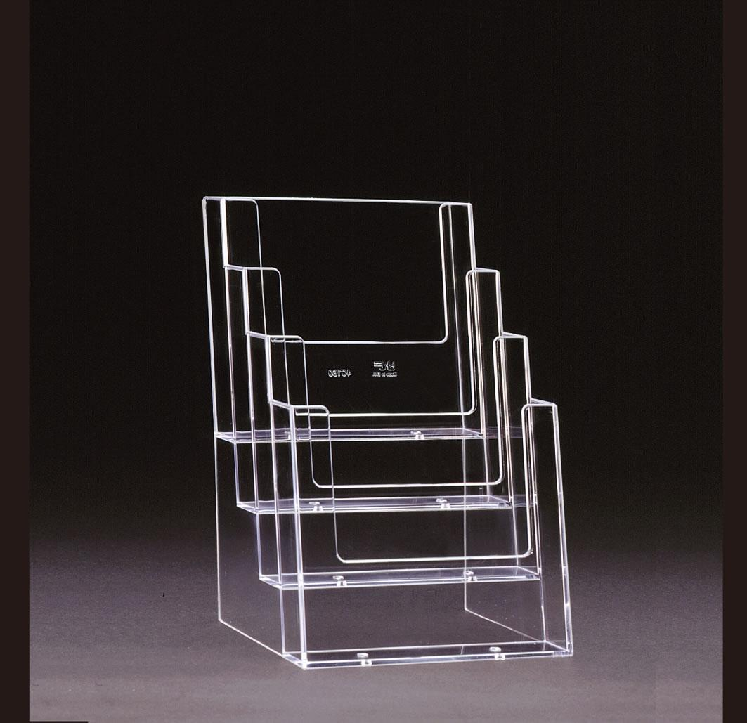 A4 Freestanding Clear Plastic Leaflet Holder - 4 Tier/Bay/Stack