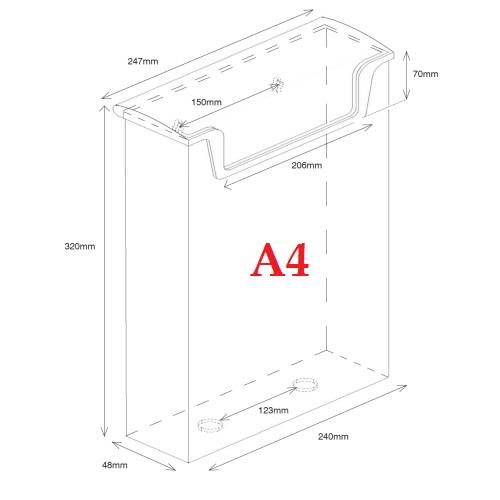 Perspex Outdoor Leaflet Holder Dispenser Wall Mounted DL, A5, A4