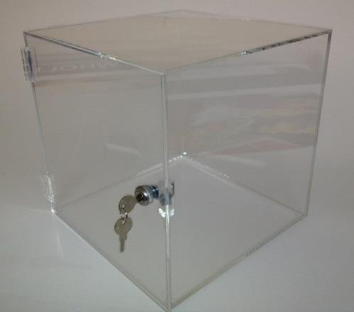 Perspex Lockable Display Case/Box/Cube - Clear Acrylic