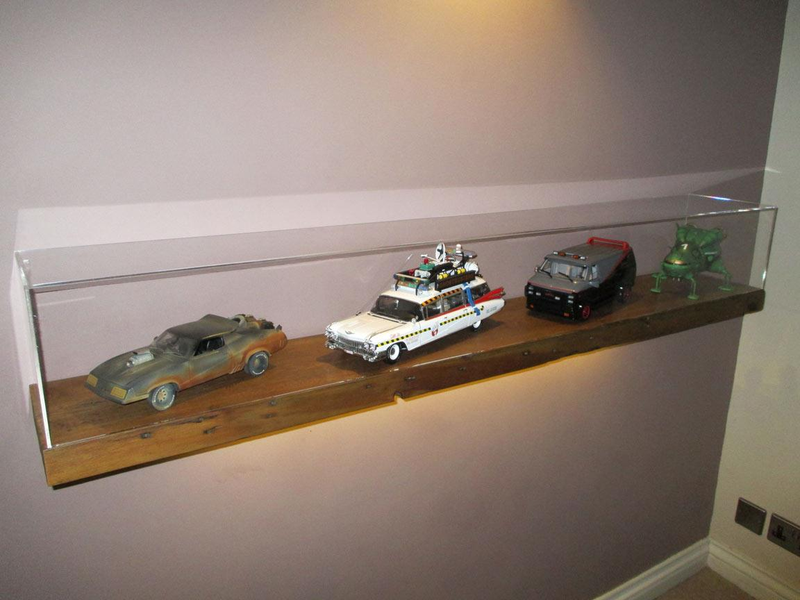 Acrylic Display Cases On Wall Mounted Floating Shelf